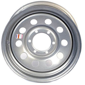 "16"" x 6"" - 6 Lug Silver Mod Solid Steel Trailer Wheel - 6 x 5.5"" Single"