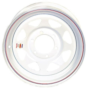 "15"" x 6"" - 6 Lug White Spoke Solid Steel Trailer Wheel - 6 x 5.5"" Single"