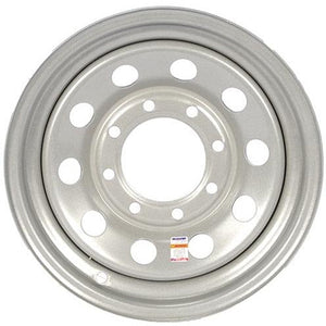 "16"" x 6"" - 8 Lug Silver Mod Solid Steel Trailer Wheel - 8 x 6.5"" Single"