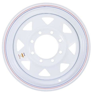 "16"" x 6"" - 8 Lug White Spoke Solid Steel Trailer Wheel - 8 x 6.5"" Single"