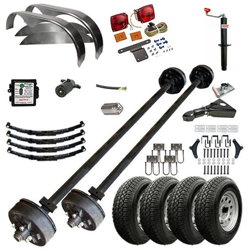 3500 lb TK Tandem Axle Complete Trailer Parts Kit - 7K Capacity HD