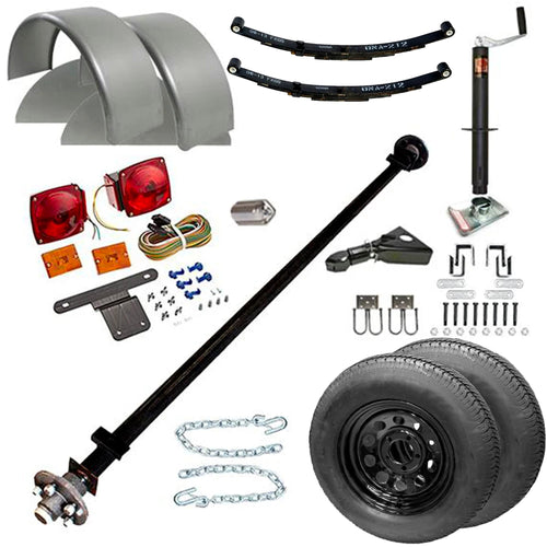 3500 lb TK Single Axle Trailer Parts Kit - 3.5K Capacity (Complete Midnight Series)