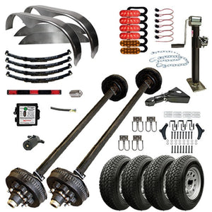 7000 lb TK Tandem Axle Complete Bumper Pull Trailer Parts Kit - 14K Capacity HD
