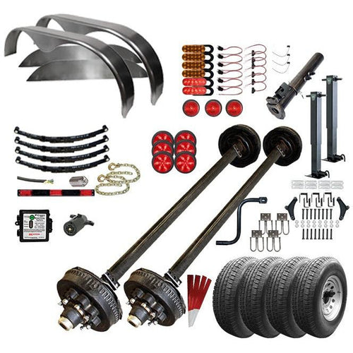 7000 lb TK Tandem Axle Complete Gooseneck Trailer Parts Kit - 14K Capacity HD