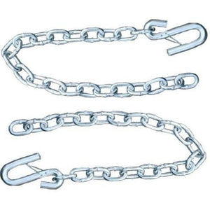 "Set of 2) Silver Trailer Safety Chains - 5/16 x 30"" - Forged (7.6k Capacity)"