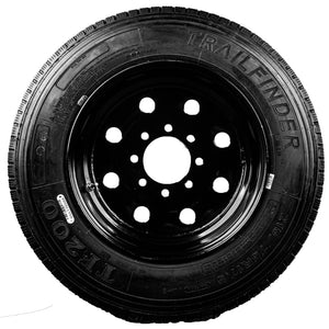 "TrailFinder 17.5"" 16 ply Radial Trailer Tire & Wheel - ST 215/75R17.5 8 Lug (Super Single Black Solid)"