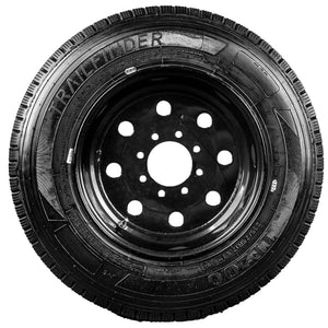 "TrailFinder 17.5"" 18 ply Radial Trailer Tire & Wheel - ST 235/75R17.5 8 Lug (Super Single Black Solid)"