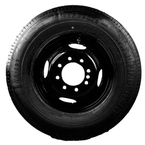 "TrailFinder 16"" 10 ply Radial Trailer Tire & Wheel - ST 235/80 R16 - 8 lug Dual (Black Mod)"