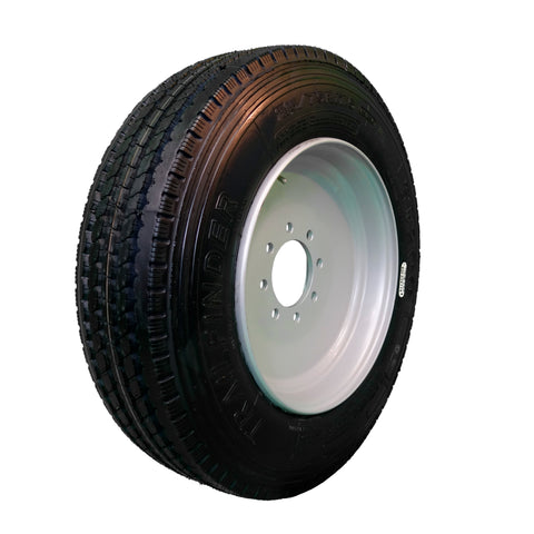 TrailFinder 175 16 ply Radial Trailer Tire and Wheel ST 21575R175 8 Lug Super Single Silver Solid