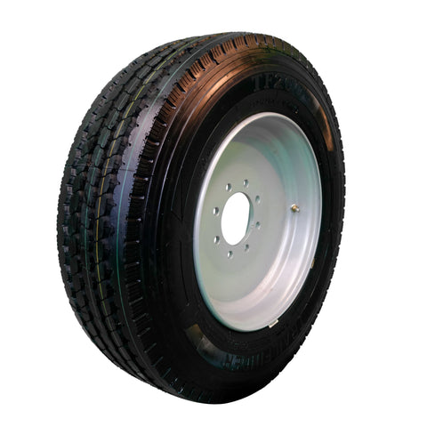Trailfinder 175 18 ply Radial Trailer Tire and Wheel ST 23575R175 8 Lug Super Single Silver Solid