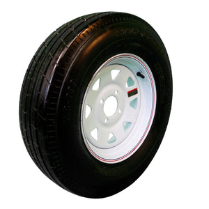 "Trailfinder 13"" 6 ply Radial Trailer Tire & Wheel - ST 175/80R13 - 5 Lug on 4.5 Lug - (White Spoke)"