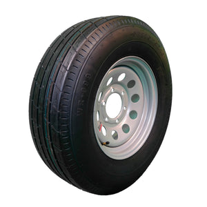 "Trailfinder 15"" 10 ply Radial Trailer Tire & Wheel - ST 225/75R15 - 6 Lug on 5.5 (Silver Mod)"