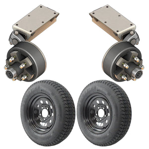 2000 lb TK Single Electric Brake Torsion Axle Trailer Kit - 2K Capacity HD (Flex Midnight Series)