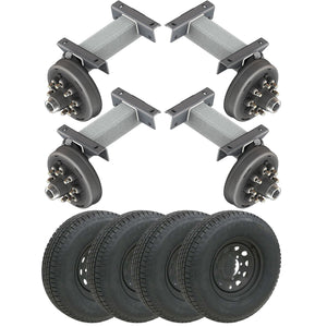 7000 lb TK Tandem Heavy Duty Torsion Axle Trailer Kit - 7K Capacity (Flex Midnight Series)