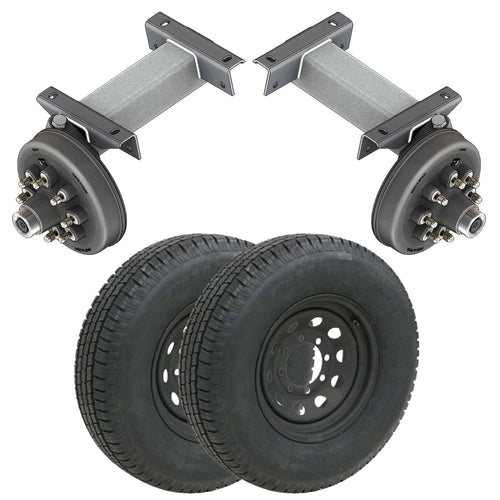 7000 lb TK Single Electric Brake Torsion Axle Trailer Kit - 7K Capacity HD (Flex Midnight Series)