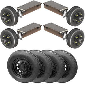 3500 lb TK Tandem Heavy Duty Torsion Axle Trailer Kit - 3.5K Capacity (Flex Midnight Series)