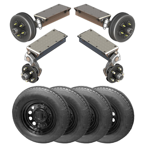 3500 lb TK Tandem Light Duty Torsion Axle Trailer Kit - 3.5K Capacity (Flex Midnight Series)