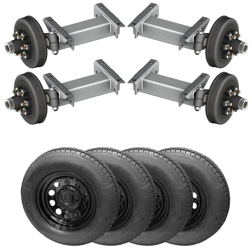 5200 lb TK Tandem Heavy Duty Torsion Axle Trailer Kit - 5.2K Capacity (Flex Midnight Series)