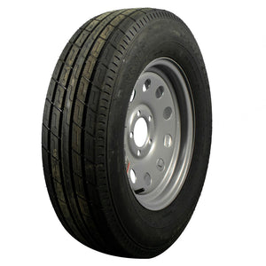 "Trailfinder 15"" 6 ply Radial Trailer Tire & Wheel - ST 205/75R15 - 5 lug - Silver Mod"