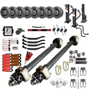 12000 lb Tandem Axle Gooseneck Hydraulic TK Trailer Kit - 24K Capacity HD - (Complete Midnight Series)