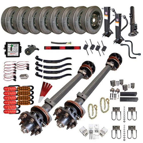 15000 lb Tandem Axle Gooseneck Hydraulic TK Trailer Kit - 30K Capacity HD - (Complete Midnight Series)