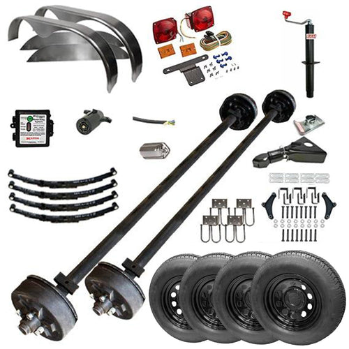 3500 lb TK Tandem Axle Complete Trailer Parts Kit - 7K Capacity HD (Midnight Series)
