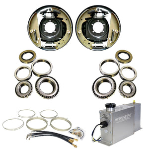 "8000 lb Trailer Axle Hydraulic Drum TK Brake Conversion Kit - 8k Capacity - (12.25"" x 3.375"" Right and Left)"
