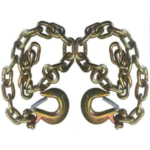 "Set of 2) Gold Trailer Safety Chains - 3/8 x 39"" with 1 Clevis Hook (27.4k Capacity)"