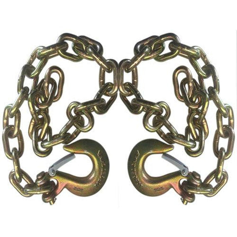 Set of 2 Gold Trailer Safety Chains 38 x 39 with 1 Clevis Hook 274k Capacity