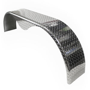 Tandem Axle 9x72 Tear Drop Diamond Plate Aluminum Fender