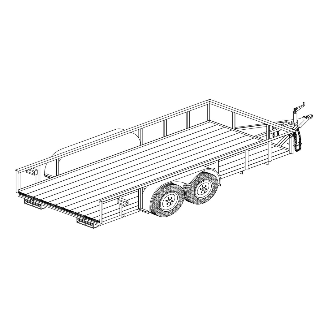 DIY Trailer Plan - 1682BLB - Tandem Axle Utility Trailer