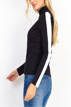 contrast strap turtle neck top