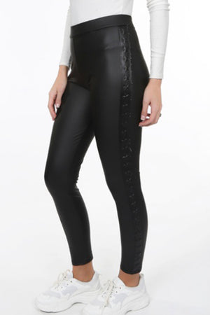 High waist star trim PU leggings