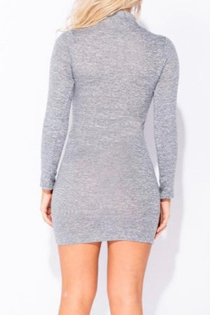 Grey Zip Front Long Sleeve Bodycon Dress