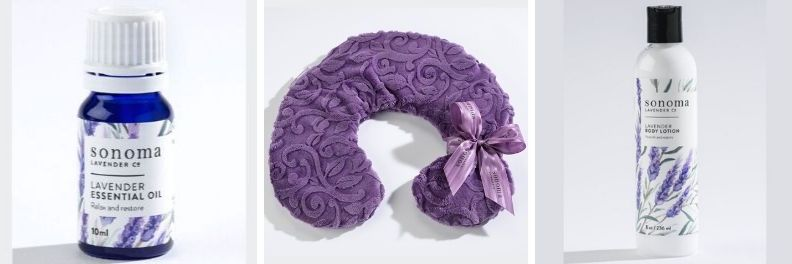 Sonoma Lavender Essential oil neck pillow and body lotion
