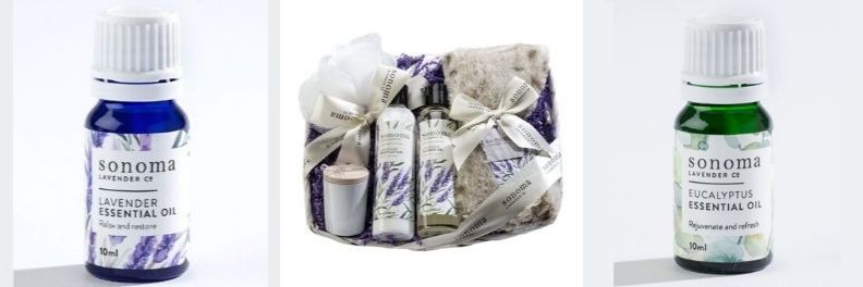 sonoma lavender essential oil, gift pack and eucalyptus essential oil