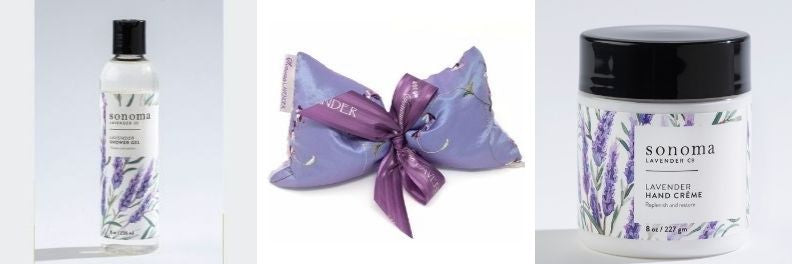 sonoma lavender shower gel eye pillow and hand creme
