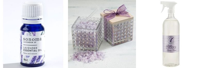 sonoma lavender essential oil, bath salts and linen water