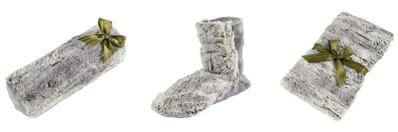 sonoma lavender eucalyptus infused silver fox faux fur spa bolster roll booties and blankie