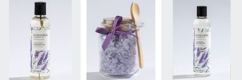 sonoma lavender massage oil bath salts shower gel