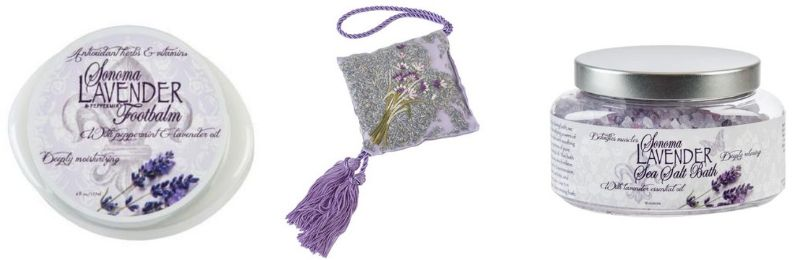 sonoma lavender collection footbalm hanging sachet bath salts