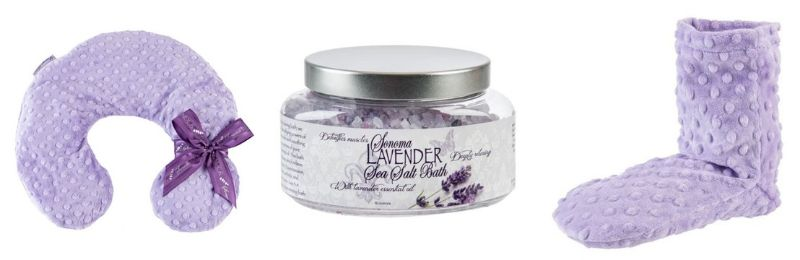sonoma lavender collection neck pillow bath salts lavender infused booties