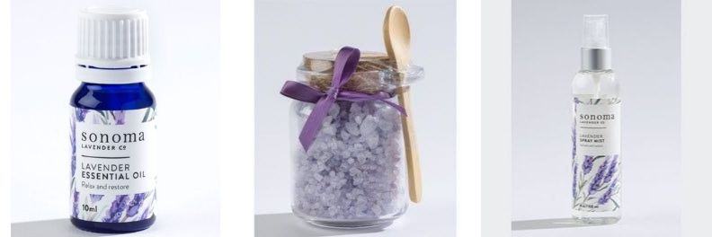 sonoma lavender essential oil, bath salts and spray mist