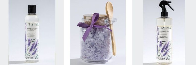 sonoma lavender shower gel, bath salts and linen water