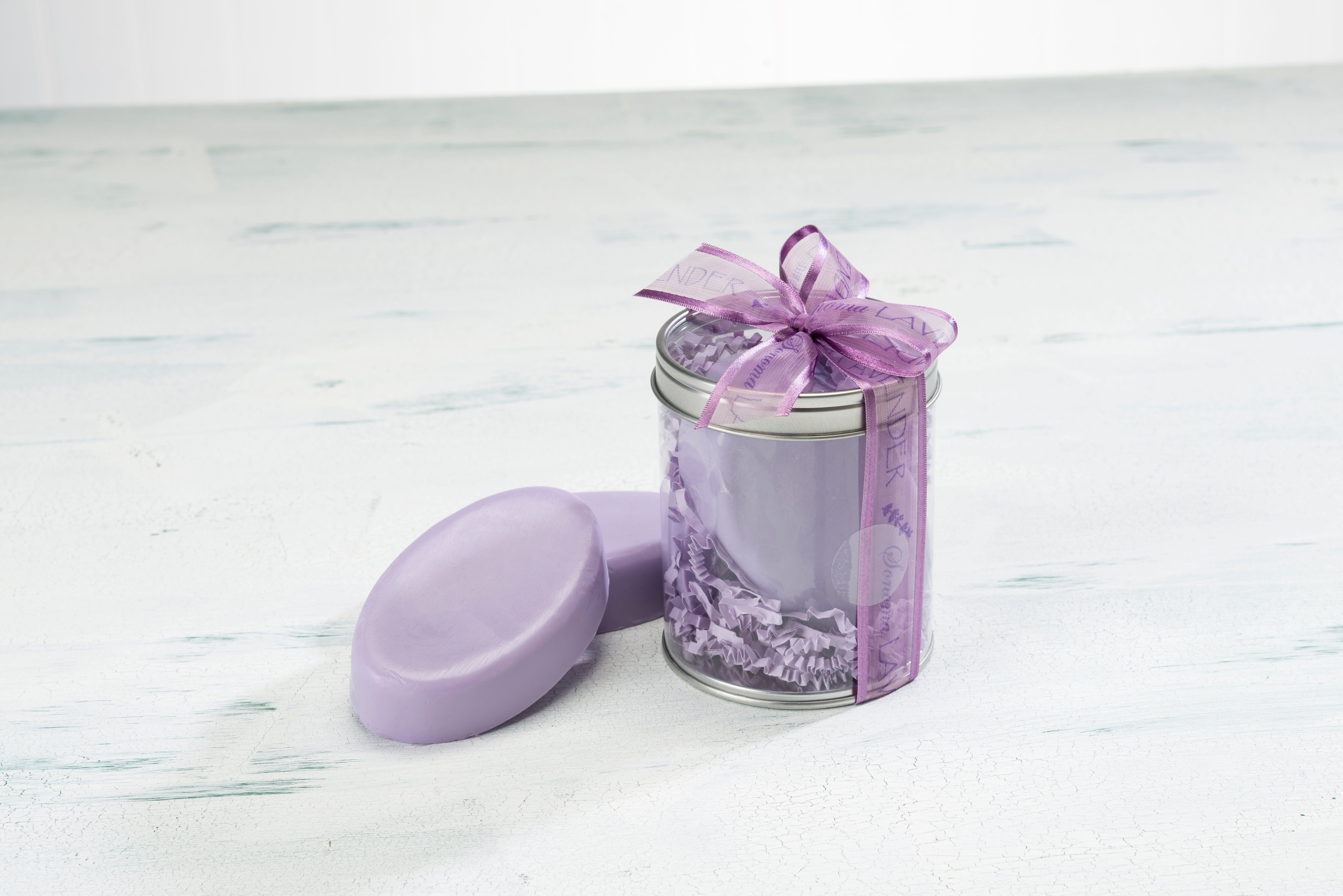 Duo of Lavender Soap Bars in Clear Canister