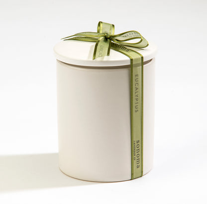 Eucalyptus Soy Candle in White Ceramic Jar
