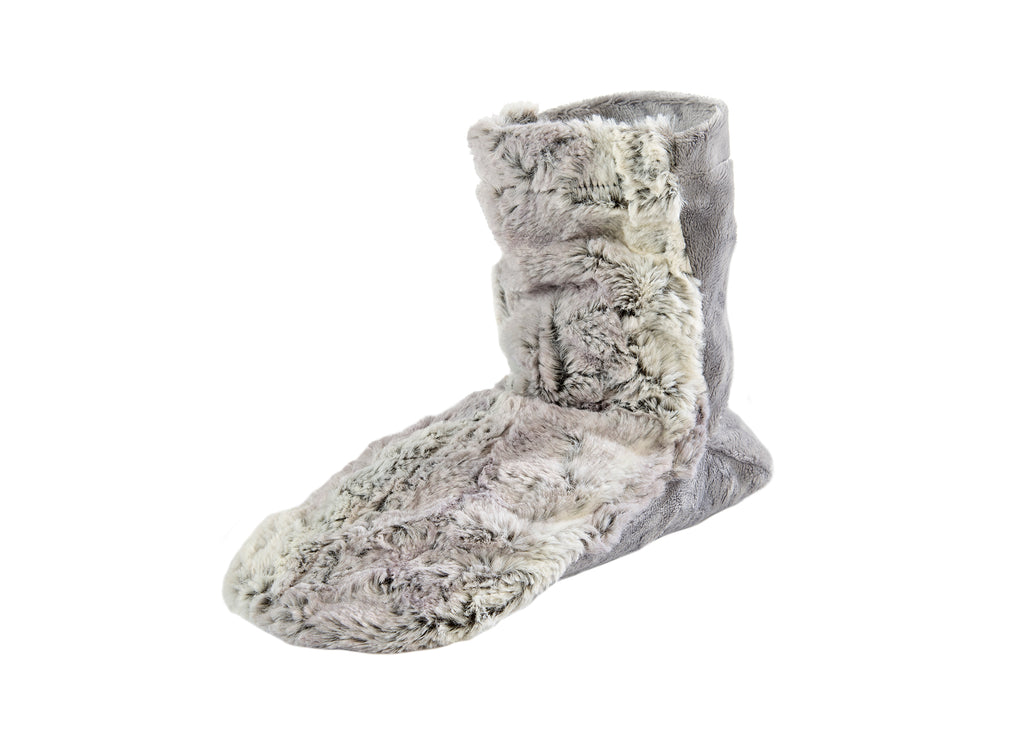 Eucalyptus Spa Booties in Silver Fox Faux Fur