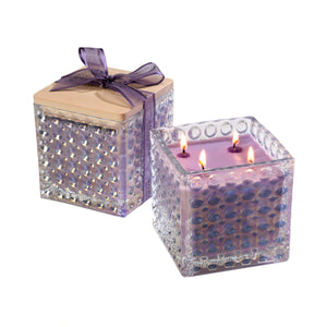 Lavender Scented Lilac Candle in Decorative Glass