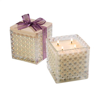 Lavender Scented Ivory Candle in Decorative Glass