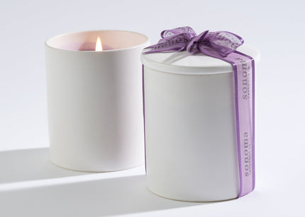 Lavender Candle in White Ceramic Jar with Lid